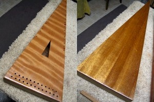 The same psaltery after only one coat of shellac has been applied - the wood comes alive!