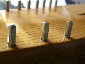 A close-up shot of some hitch pins, giving an approximate idea of their depth