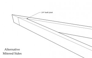 A 20° butt joint may be used in place of the 10° miter joint