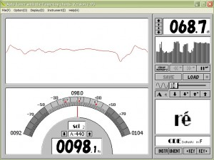 A screenshot of the tuning program, showing the Hz of the note being played